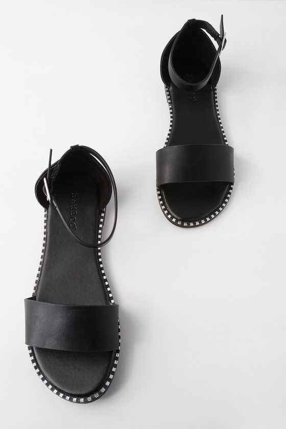 JUSTINE BLACK ANKLE STRAP SANDALS