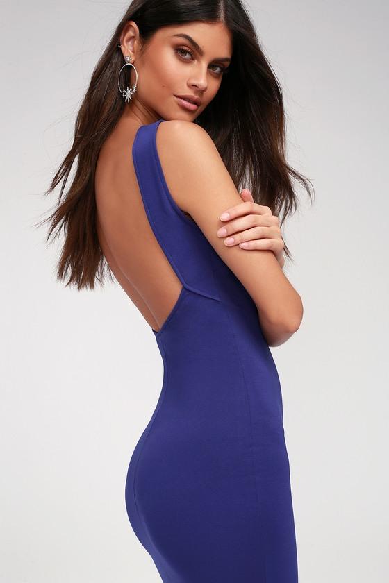chic royal blue dress midi dress backless dress