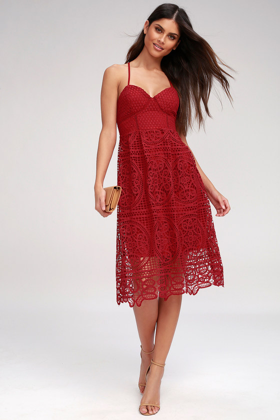 c526e8bf27 Lovely Berry Red Lace Dress - Lace Dress - Lace Midi Dress