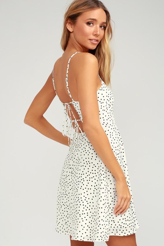 839389cb64 Flirty White Polka Dot Dress - Skater Dress - Tie-Back Dress
