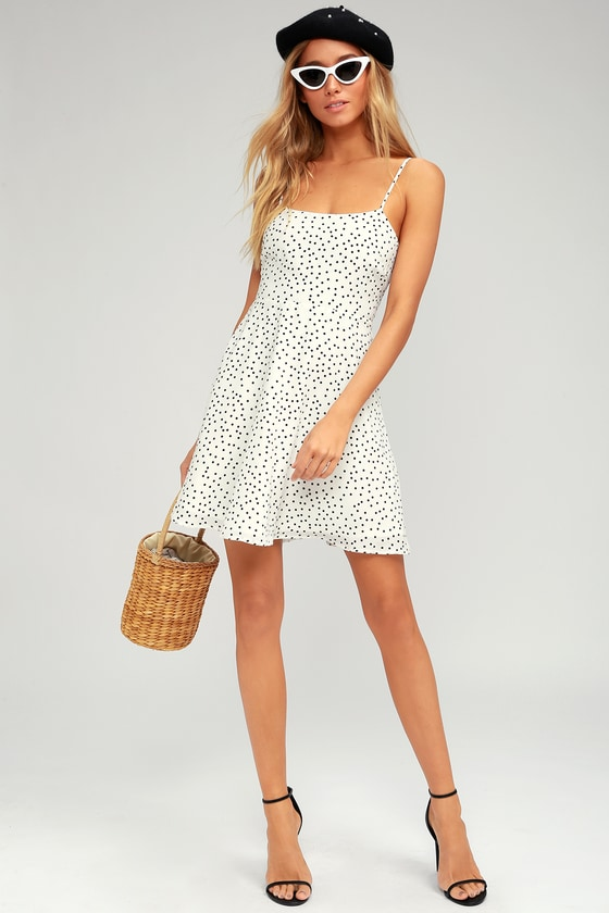 autumn shoes best loved thoughts on Flirty White Polka Dot Dress - Skater Dress - Tie-Back Dress