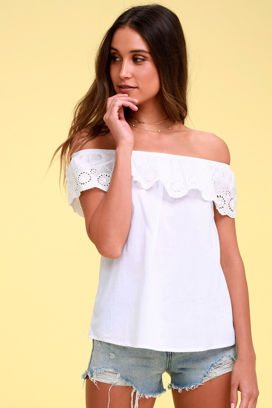 b4147813ffd Cute White Top - Eyelet Lace Top - Off-the-Shoulder Top