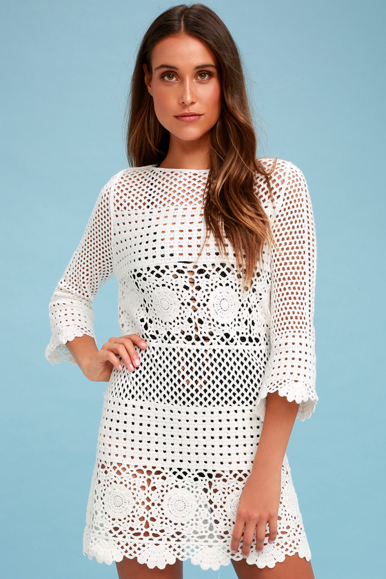 4si3nna Willow Dress Crochet Swim Cover Up White Dress