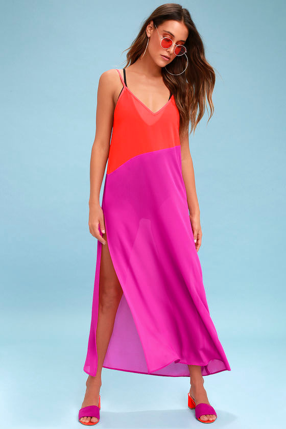 f886b27bf4 Bright Swim Cover-Up - Colorblock Cover-Up - Resort Wear