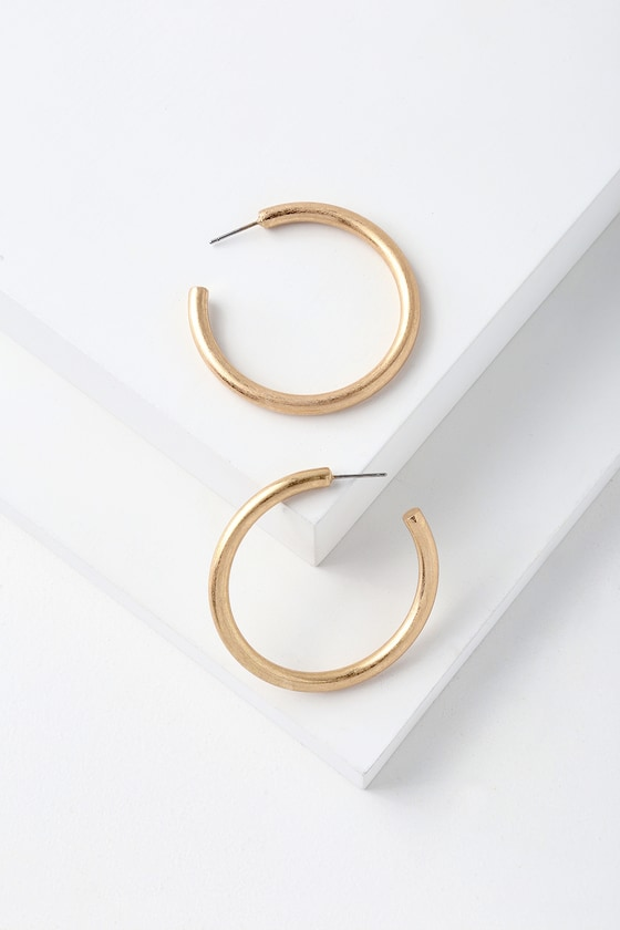 LuLus Franc Brushed Gold Hoop Earrings