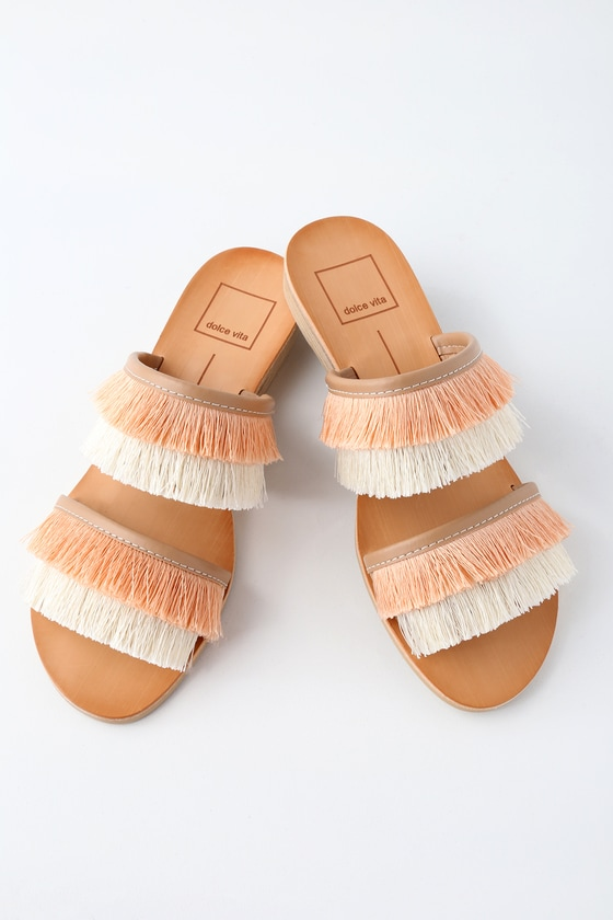HAYA NATURAL FRINGE SLIDE SANDALS