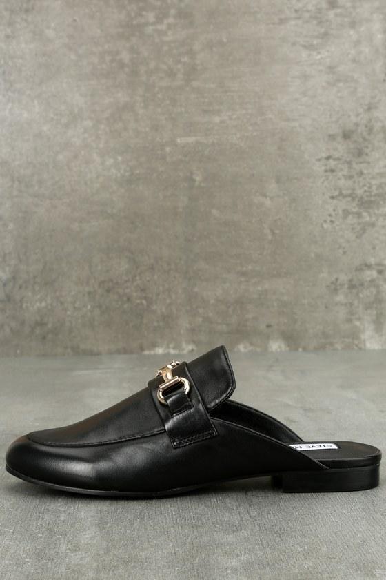 820b219e70f Steve Madden Kandi - Black Leather Loafers - Black Mules -  79.00