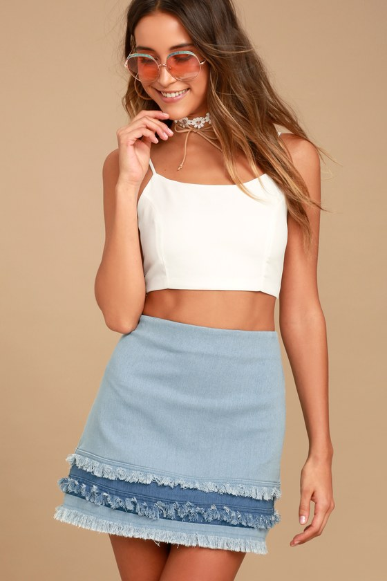 e96948a0fe Cute Light Wash Skirt - Denim Skirt - Mini Skirt