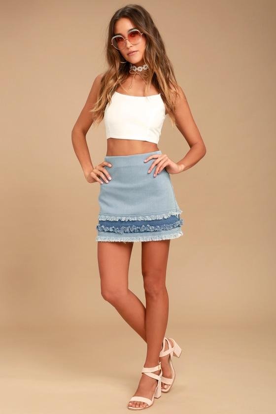fcd3601ca5 Cute Light Wash Skirt - Denim Skirt - Mini Skirt
