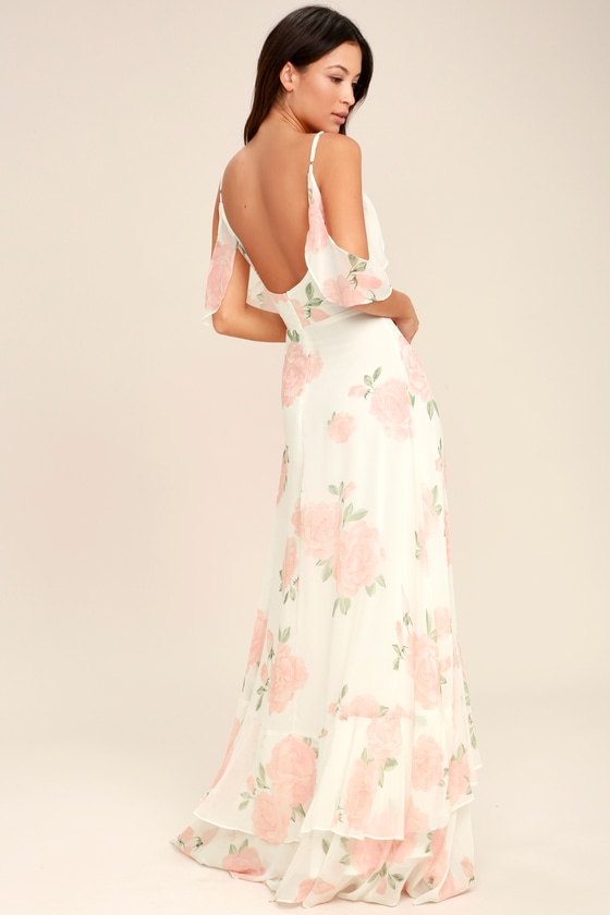 Take You There Ivory Floral Print Maxi Dress - Lulus