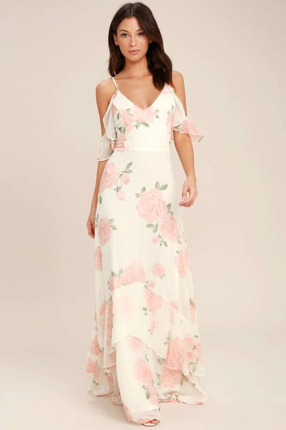 0d6de90ce76b Lovely Ivory Dress - Floral Print Dress - Maxi Dress