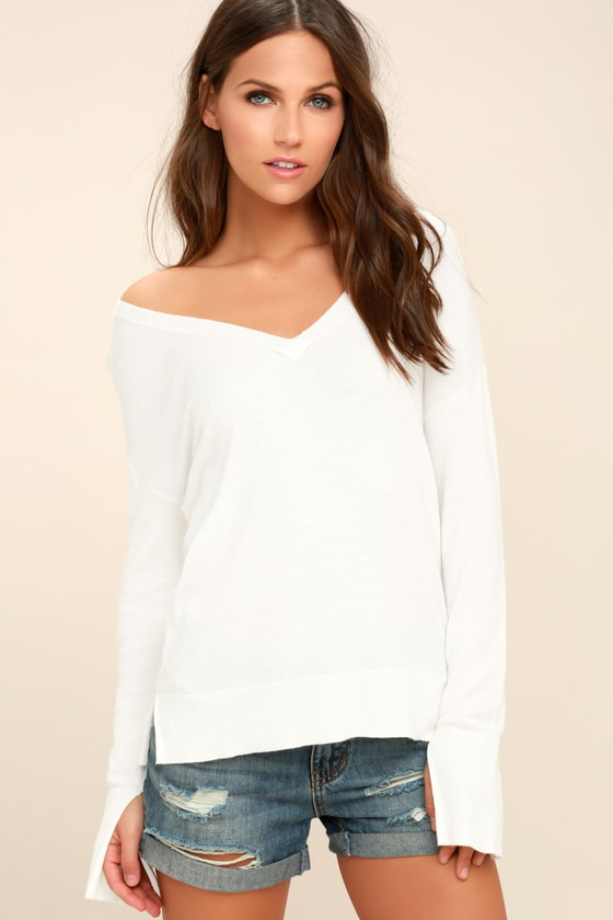 04e4334230a5a Cozy White Sweater - V-Neck Sweater - Sweater Top