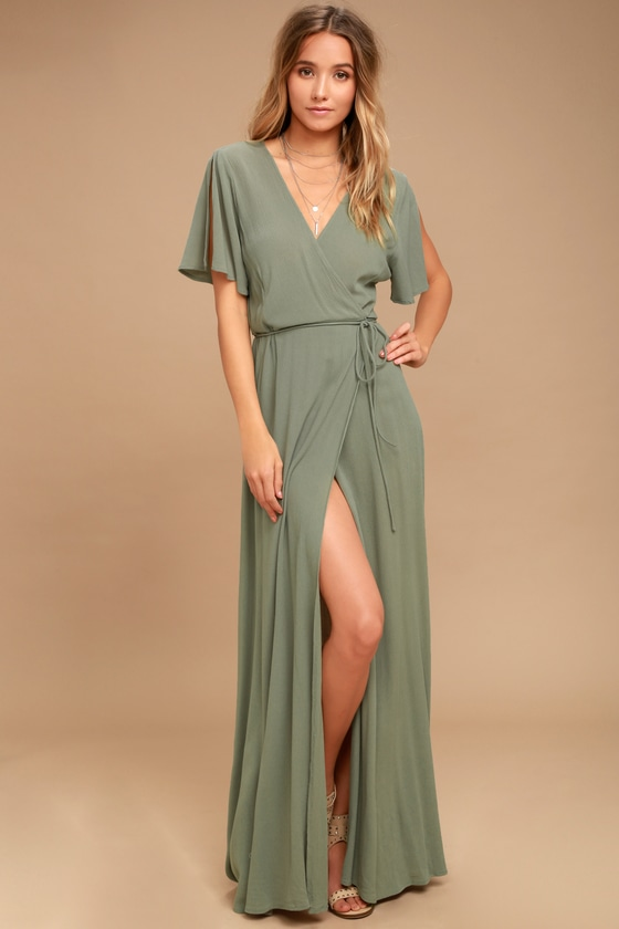 Much Obliged Washed Olive Green Wrap Maxi Dress - Lulus