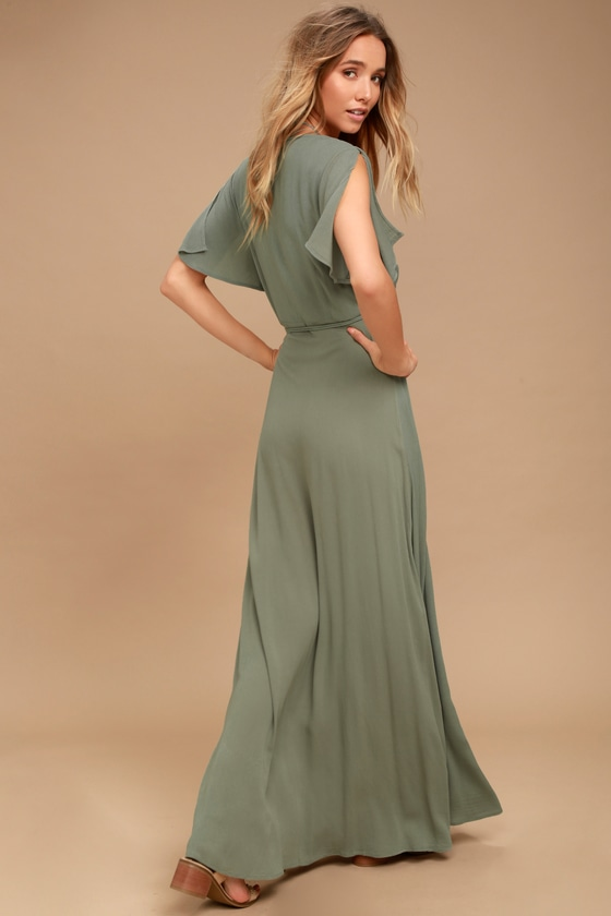 11f050f5ae6 Lovely Washed Olive Green Dress - Wrap Dress - Maxi Dress