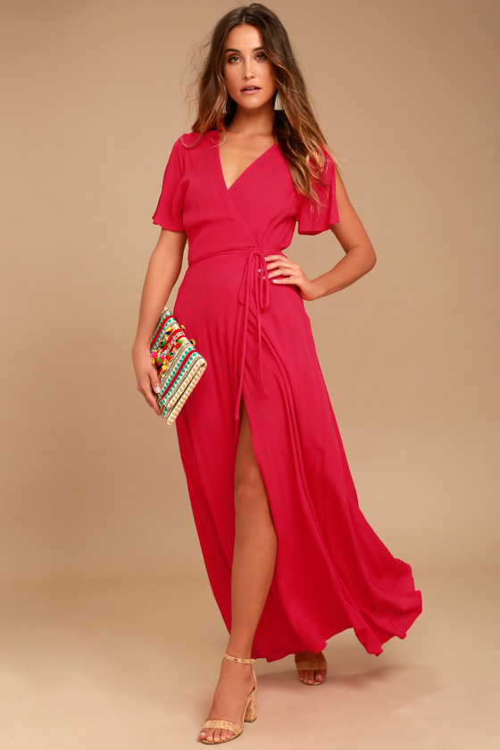 8162a1eb8c4f Lovely Red Dress - Surplice Wrap Dress - Maxi Dress