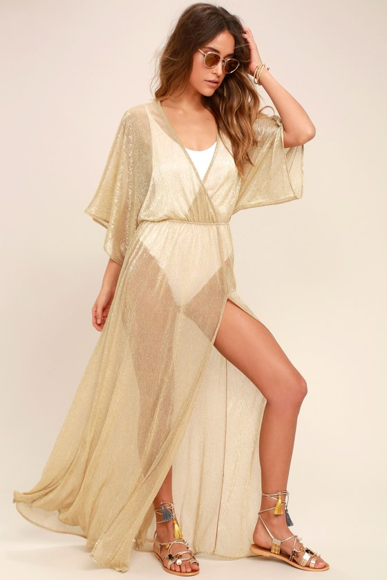 d556dd42f0 Sexy Gold Cover-Up - Sheer Gold Cover-Up - Gold Maxi Dress