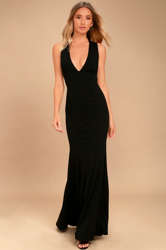 70b998a6a44 Elegant Black Dress - Maxi Dress - Open Back Maxi Dress