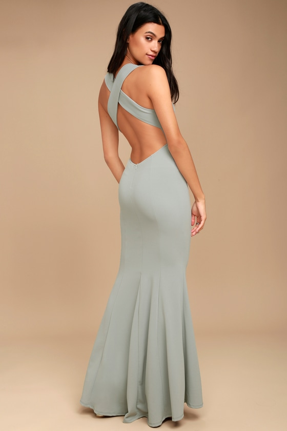 5b6644efbd1 Elegant Grey Dress - Maxi Dress - Open Back Maxi Dress