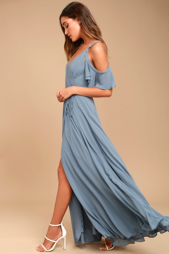 f79092e9168 Slate Blue Dress - Maxi Wrap Dress - Off-the-Shoulder Dress