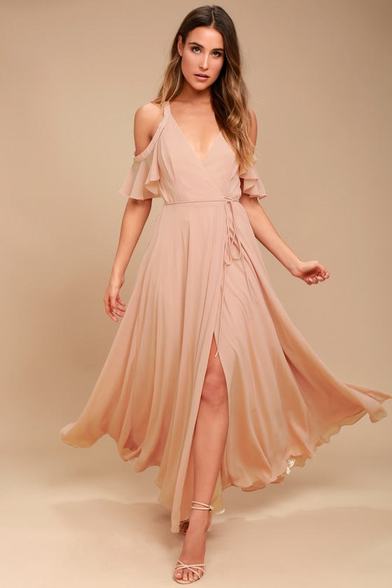 79a2a47d721 Lovely Blush Dress - Off-the-Shoulder Dress -Wrap Maxi Dress