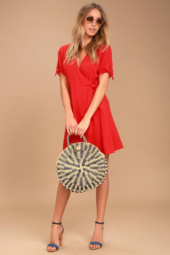 932e03984d Cute Red Dress - Short Wrap Dress - Short Sleeve Dress