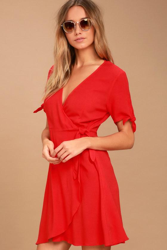 Short Red Wrap Dress