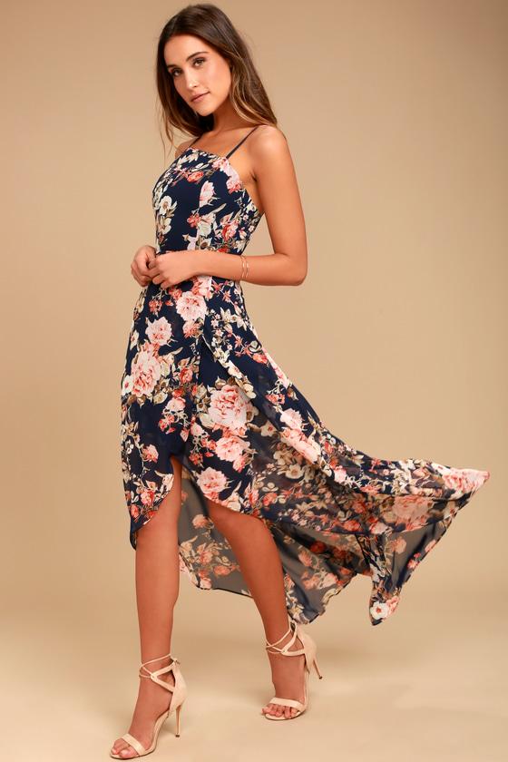 8a1d68bdc4b2 Lovely Navy Blue Dress - Floral Print Dress - High-Low Dress