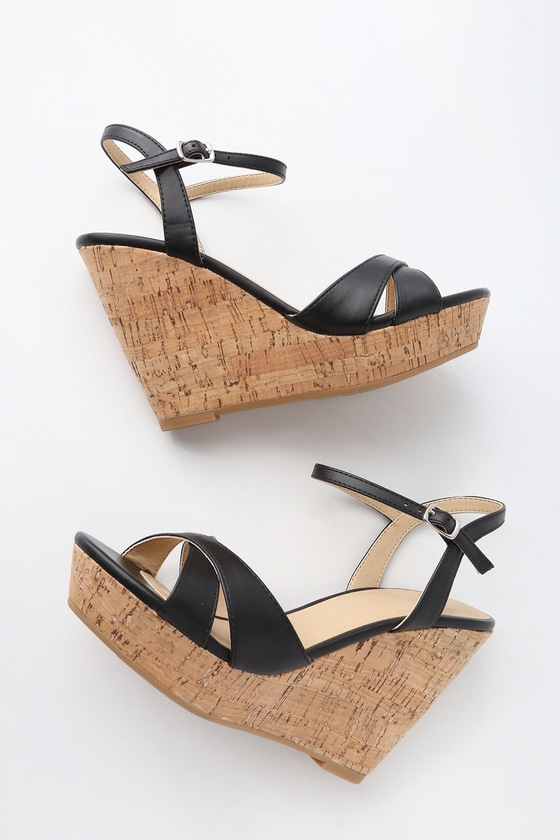 cd56cec35a9 Cute Black Sandals - Wedge Sandals - Cork Sandals