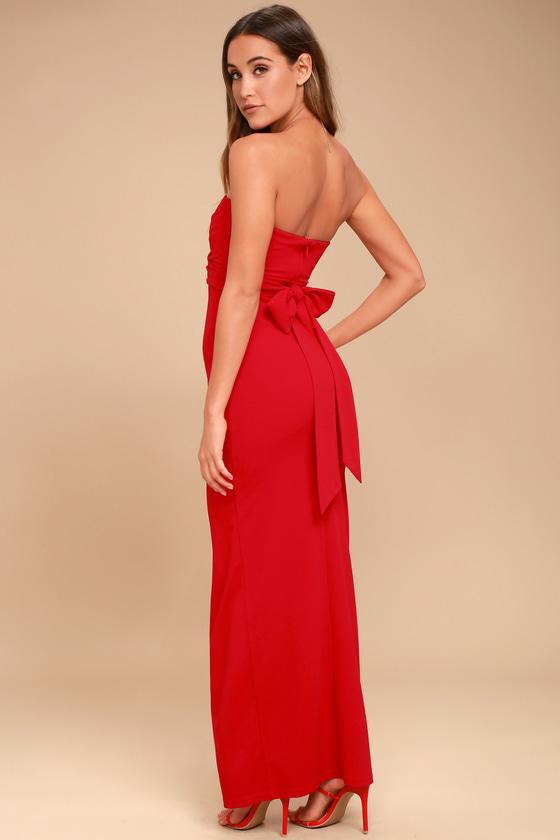 0fcbb86d7b20 Lovely Red Dress - Strapless Dress - Maxi Dress - Gown - $72.00