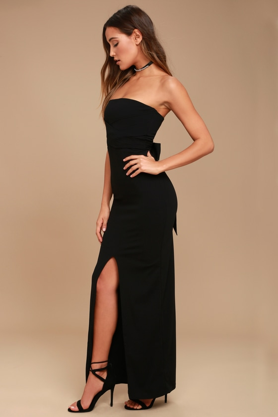 Lovely Black Dress - Strapless Dress - Maxi Dress - Gown ...