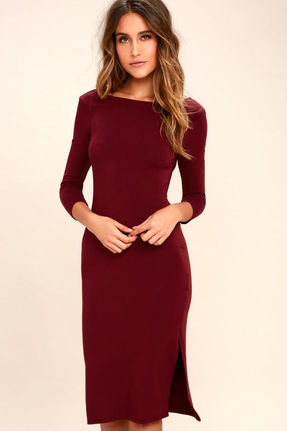 13fa121ad5b Chic Burgundy Dress - Midi Dress - Bodycon Dress