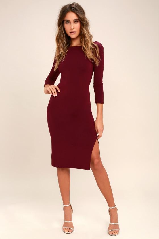 f056d1c506ce Chic Burgundy Dress - Midi Dress - Bodycon Dress