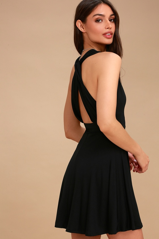 Eyeful Black Backless Skater Dress