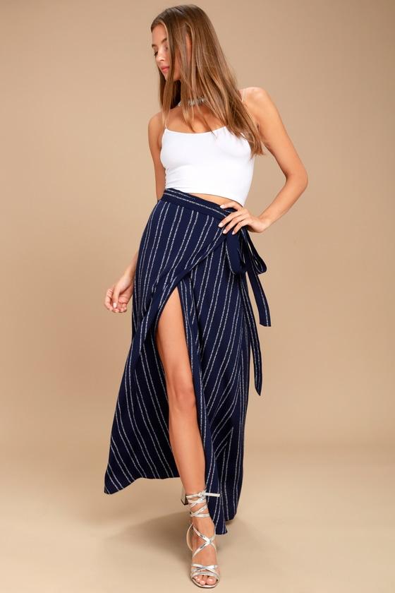 adb170993f258c Boho Skirt - Navy Blue Print Skirt - Wrap Skirt - $69.00