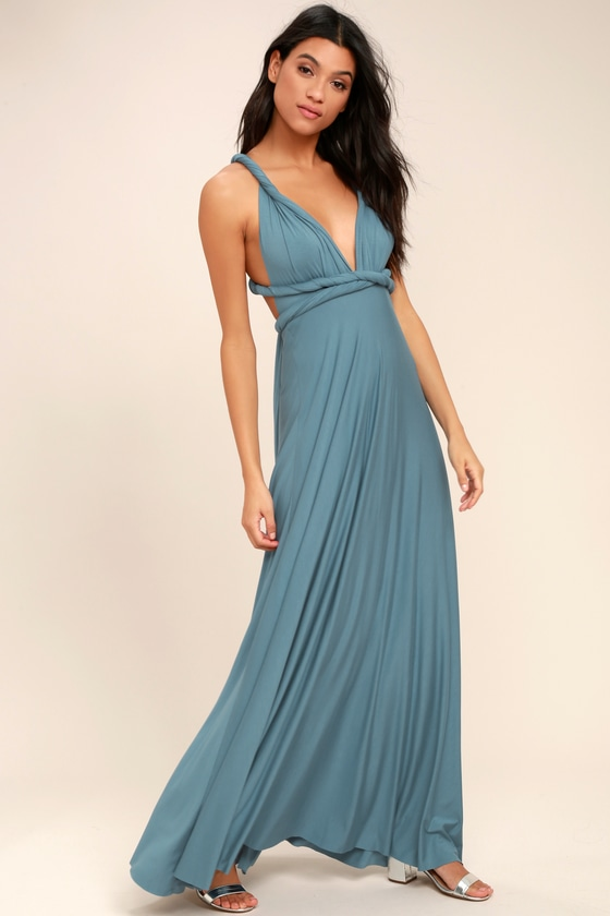 81f7d394703 Awesome Slate Blue Dress - Maxi Dress - Wrap Dress