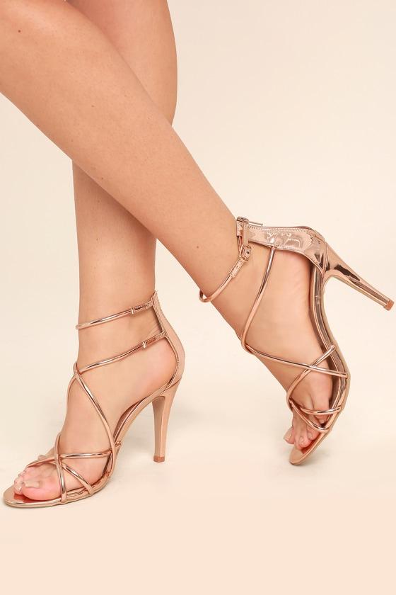 70e9a8449d5 Stunning Champagne Heels - Rose Gold Heels - Metallic Heels -  34.00