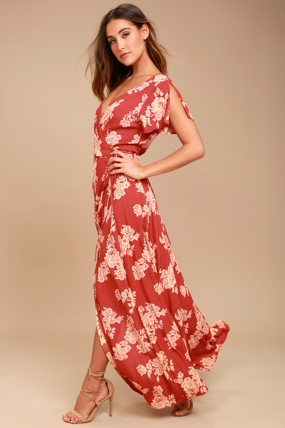 c505c2cc6ac Lovely Rust Red Floral Print Dress - Wrap Dress - Maxi Dress