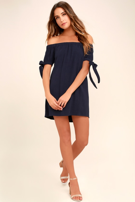aec74f809cb2 Navy Blue Dress - Off-the-Shoulder Dress - White Shift Dress