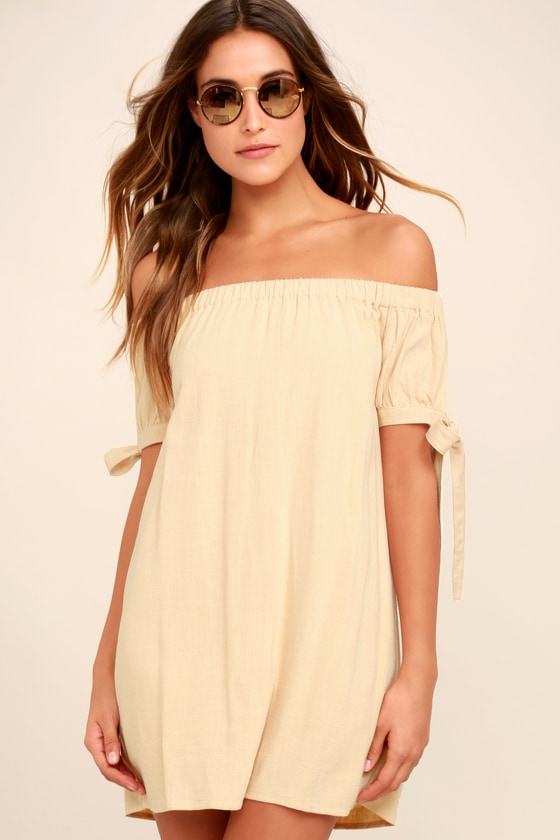 Beige Off-the-Shoulder Dress