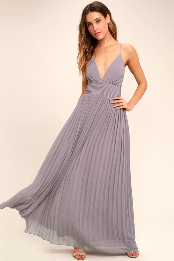 15cbaad8eb8c Light Purple Dress - Pleated Maxi Dress - Dusty Purple Gown