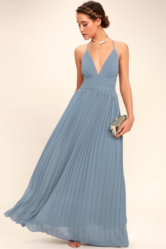 Depths Of My Love Dusty Blue Maxi Dress by Lulus