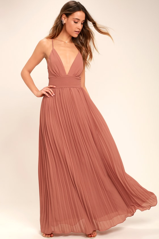 53a0704723f Stunning Rusty Rose Dress - Pleated Maxi Dress - Pink Gown -  78.00