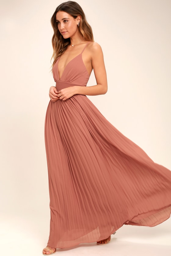 Stunning Rusty Rose Dress - Pleated Maxi Dress - Pink Gown -  78.00 a36e1662b