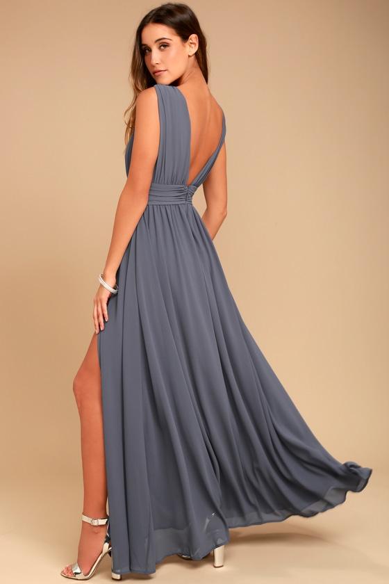 64ea9fff078b1 Denim Blue Gown - Maxi Dress - Sleeveless Maxi Dress - $84.00