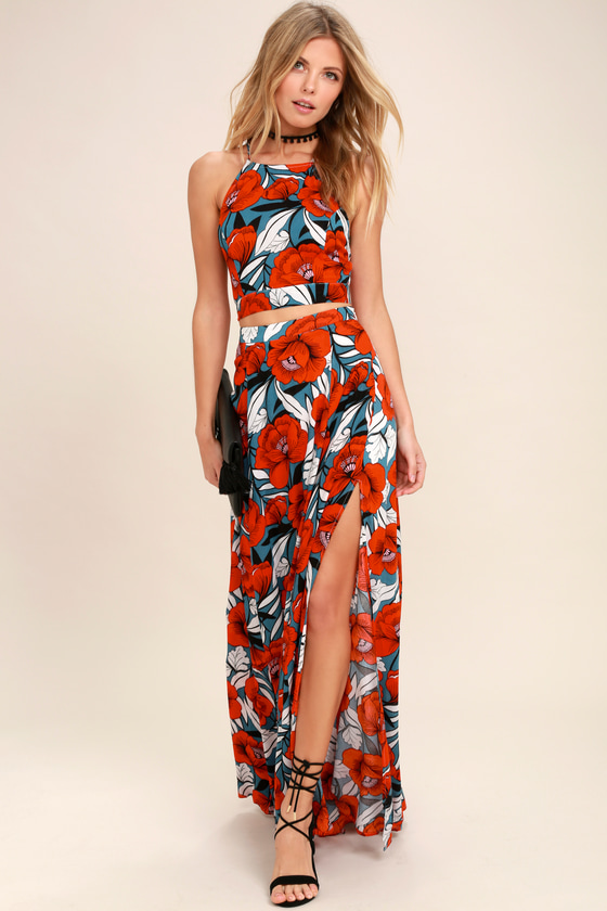ae346f9595ab Red Dress -Floral Print Dress - Maxi Dress - Two-Piece Dress