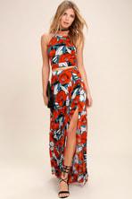 48f2d255ea7 Lovely Blue Floral Print Dress - Two-Piece Dress -Maxi Dress