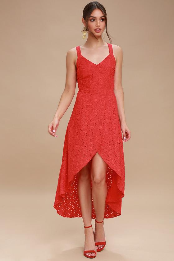 02e860c5481f J.O.A. Red Lace Midi Dress - Tulip Hem Dress - Ruffled Dress