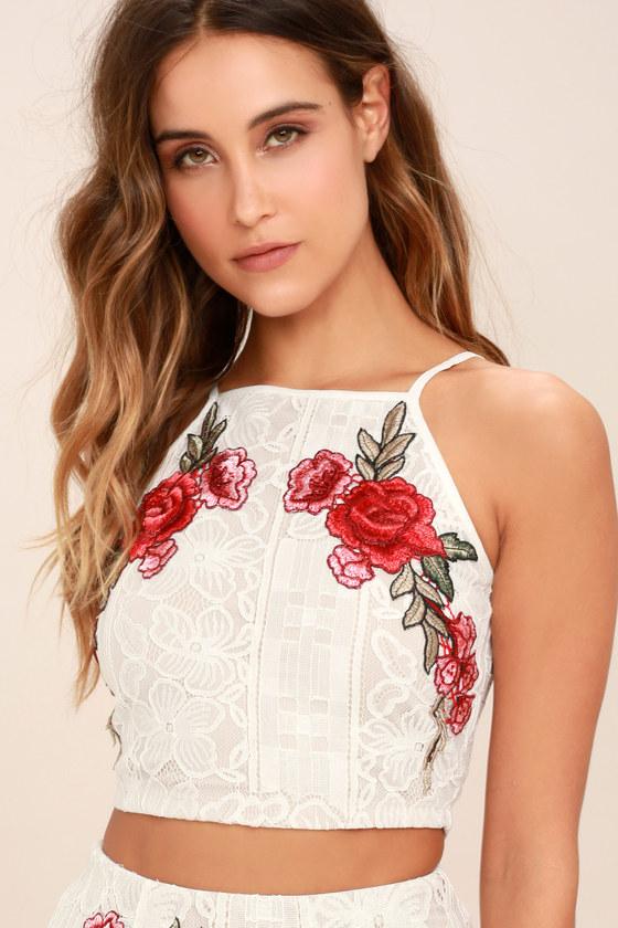 247168d4af5 Ivory Lace Two-Piece Dress - Two-Piece Maxi Dress