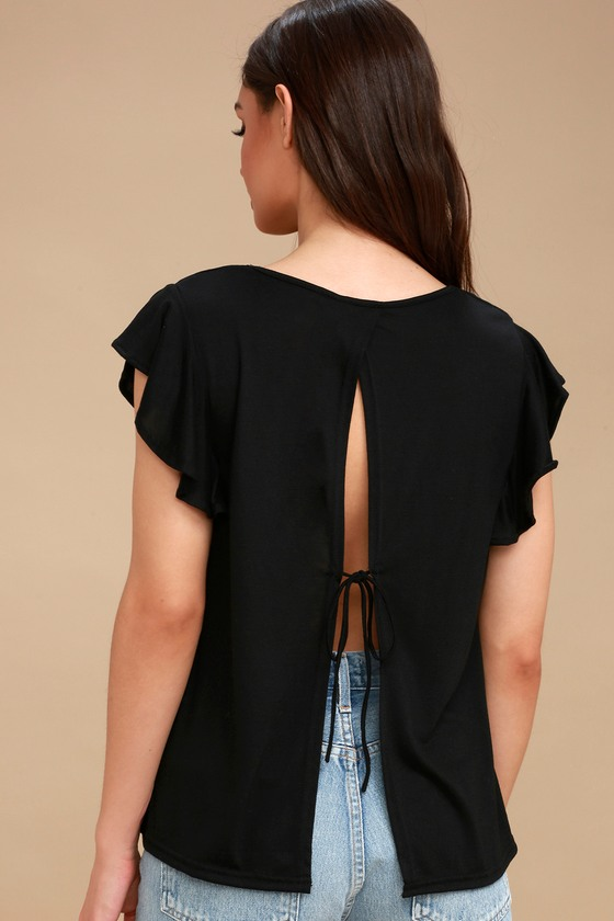 Basically The Best Black Tie Back Top by Lulus