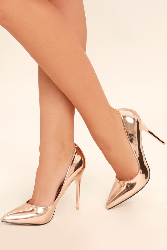 chic rose gold heels pointed toe pumps mirrored pumps 35 00